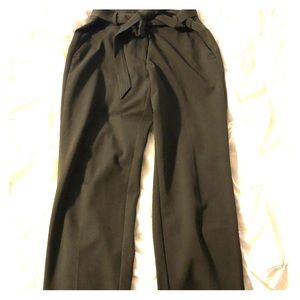 Olive green Loft Marisa trousers with tie waist